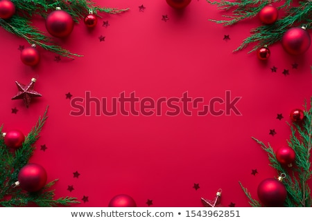 abstract spruces star top merry bright greetings stock photo © robuart