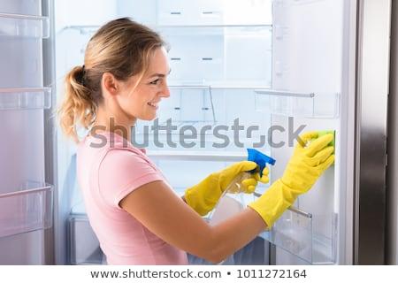 vrouw · schoonmaken · koelkast · spons · gelukkig - stockfoto © andreypopov