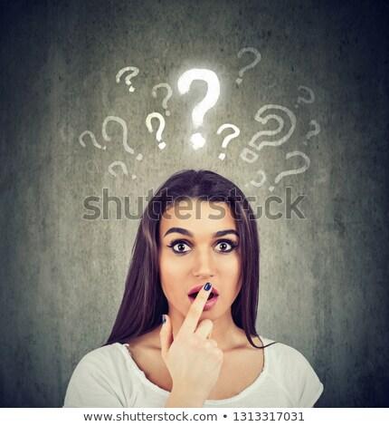 Schockiert erstaunt Frau viele Fragen keine Stock foto © ichiosea