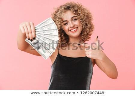 Fotó bájos fürtös nő 20-as évek visel Stock fotó © deandrobot