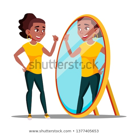 Character Woman Watch Mirror And Admires Vector Stock photo © pikepicture