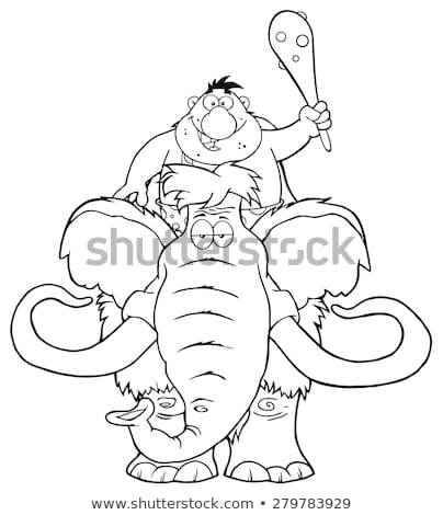 Black And White Happy Caveman Over Mammoth Stock photo © hittoon