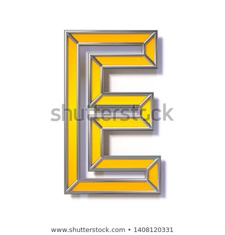 orange metal wire font letter e 3d stock photo © djmilic