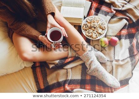 Nő lábak puha reggel kockás lány Stock fotó © ElenaBatkova