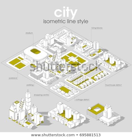 isometrische · stad · moderne · architectuur · wolkenkrabber · vector · icon - stockfoto © smoki