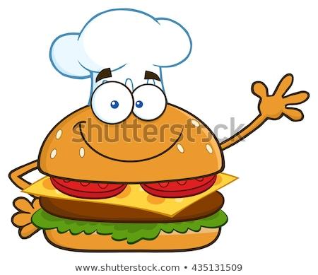 Smiling Chef Hamburger Cartoon Character Waving Stock photo © hittoon