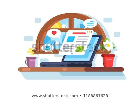 Laptop screen showing latest morning news Stock photo © jossdiim