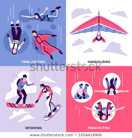 Skydiving and Hang Gliding Extreme Sports Set Stock photo © robuart