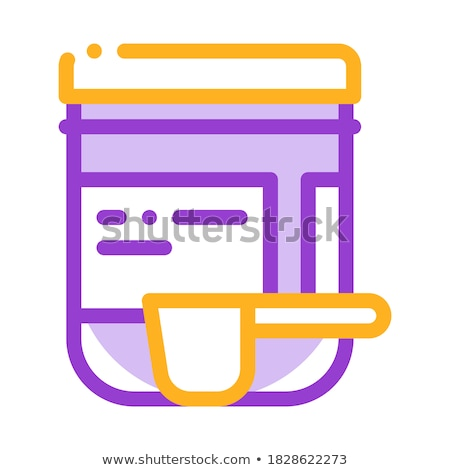supplements bottle and scoop vector thin line icon stock photo © pikepicture