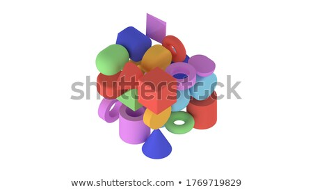 dodecahedron - 3D geometric shape with holographic gradient isolated on white background vector Stock photo © MarySan
