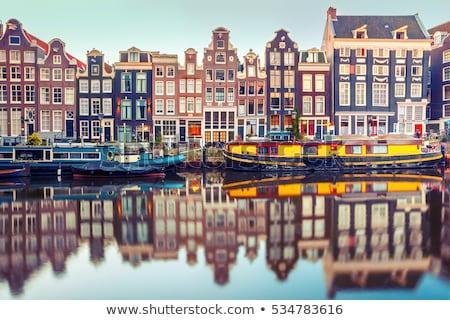 домах · Амстердам · Нидерланды · канал · фары · ночь - Сток-фото © borisb17