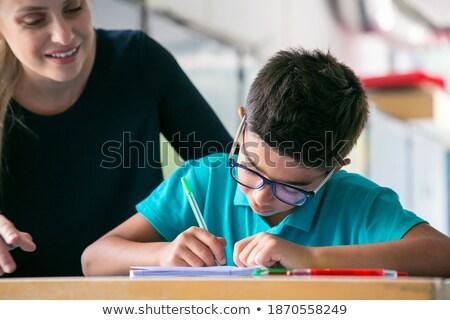 Elöl kilátás boldog iskolás gyerekek beszél tanár Stock fotó © wavebreak_media