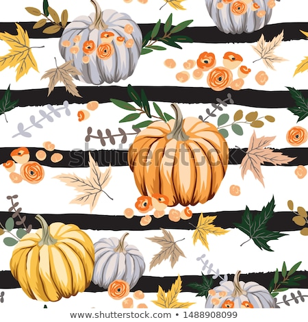autumn seamless pattern with pumpkins stock photo © artspace