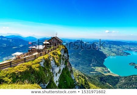 göl · alpler · feribot · Avusturya · gökyüzü · doğa - stok fotoğraf © borisb17