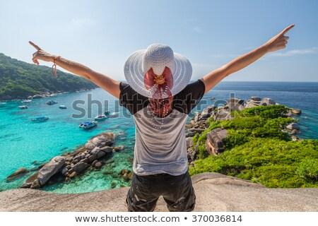 Boldog nő meditál egzotikus nyár park Stock fotó © dolgachov