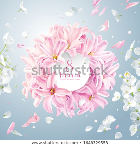 Pink Hyacinth flower and white Hydrangea flower for 8 March vect Stock photo © LisaShu