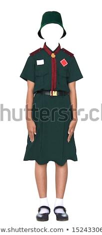 Menina escoteiro uniforme branco ilustração feliz Foto stock © bluering
