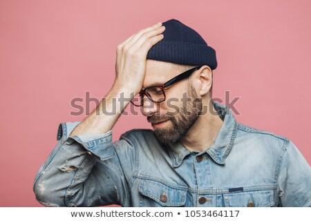 Vízszintes portré stresszes elegáns férfi valami Stock fotó © vkstudio