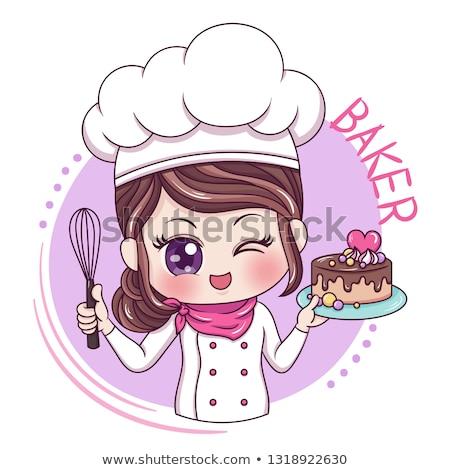 Rajz pék lány torta faliszekrény desszertek Stock fotó © Voysla