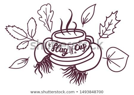 Hot Drink Mug Braided Scarf Decorated Dry Leaves Stock photo © barsrsind