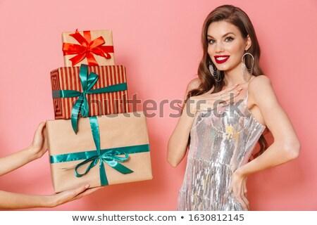 Alguém presentes sorridente mulher jovem quadro brilhante Foto stock © deandrobot