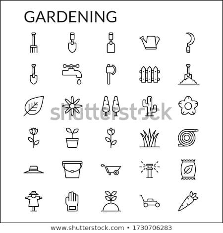 Jardinage râteau pixel icône outil isolé Photo stock © Imaagio