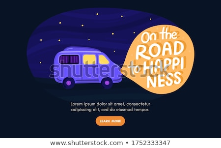Van life concept. Night sky with stars. Campervan rides along road. In light of headlights there is  Stock photo © user_10144511
