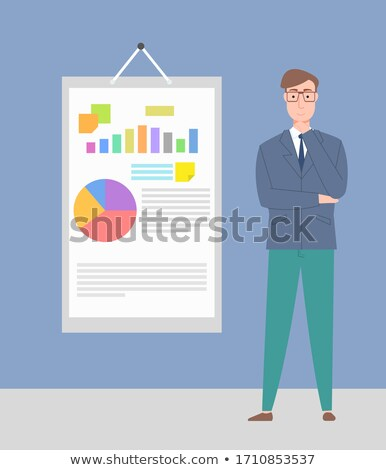 Thinking Man Standing near Board with Chart Vector Stock photo © robuart