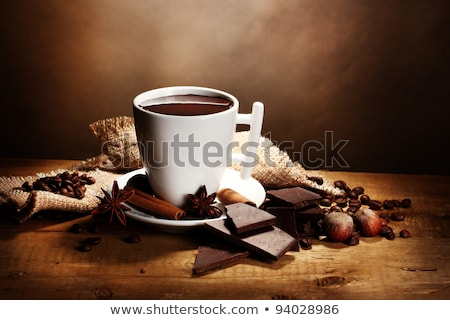 close up of cup of hot chocolate with cinnamon Stock photo © dolgachov