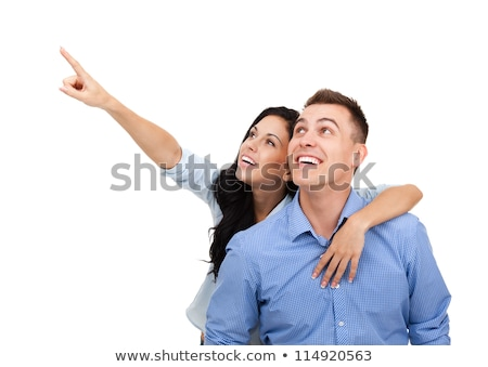 Excited couple pointing to a blank sign Stock photo © photography33