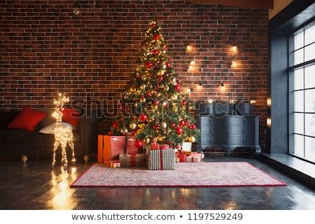 natal · bola · árvore · caixas · de · presente · branco · vermelho - foto stock © hasloo