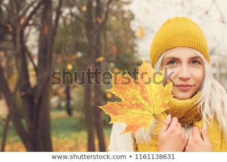 mulher · amarelo · folhas · retrato · belo · mulher · jovem - foto stock © marylooo