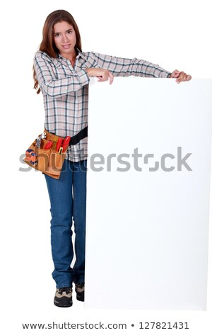 Tradesperson with a board left blank for your message Stock photo © photography33