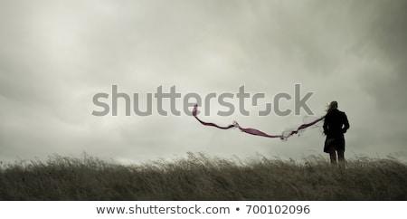 силуэта · женщину · оружия · пляж · счастливым · морем - Сток-фото © arenacreative