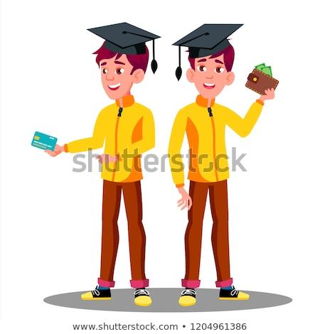 Schooljongen creditcard geïsoleerd witte winkelen Stockfoto © stockyimages