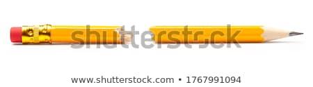 törött · ceruza · citromsárga · fehér · papír · kezek - stock fotó © devon