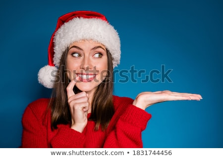 christmas · meisje · mooie · hoed · geschenken - stockfoto © broker