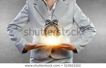 Gülen işkadını çan yalıtılmış beyaz Stok fotoğraf © wavebreak_media