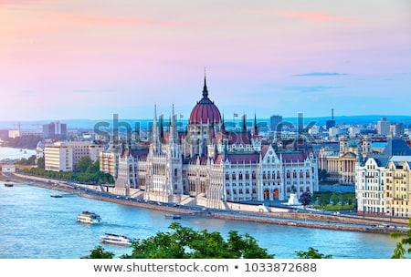 Húngaro parlamento edificio puesta de sol ciudad bandera Foto stock © joyr