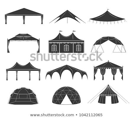 Güneş barınak palmiye kulübe güzel gökyüzü Stok fotoğraf © ca2hill