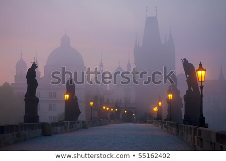 charles bridge in prague early in the morning stock photo © andreykr