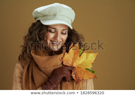 Beautiful woman with long curly hair and fabric scarf isolated o Stock photo © Victoria_Andreas
