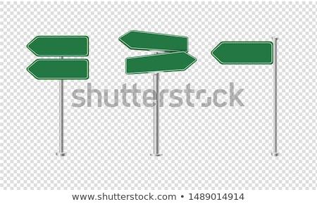 Verkeersbord groot groene blauwe hemel wolken teken Stockfoto © Quka