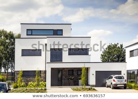 Casa fachada azul ciudad pared Foto stock © dinozzaver