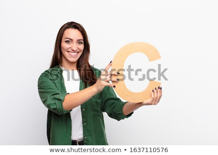 portrait of girl holding alphabet a stock photo © zzve