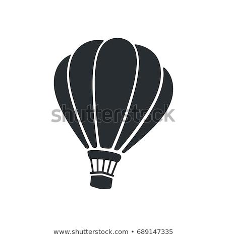 Foto stock: Vector · icono · globo · de · aire · caliente · viaje · paquete · movimiento