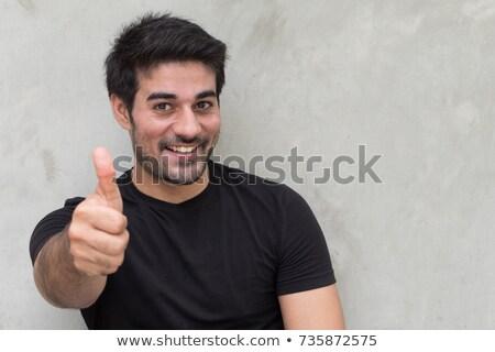 mosolyog · férfi · ok · felirat · közelkép · portré - stock fotó © ichiosea