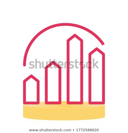 White bar icons set on red background Stock photo © Voysla