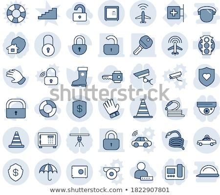 Beschermd teken Blauw vector icon knop Stockfoto © rizwanali3d