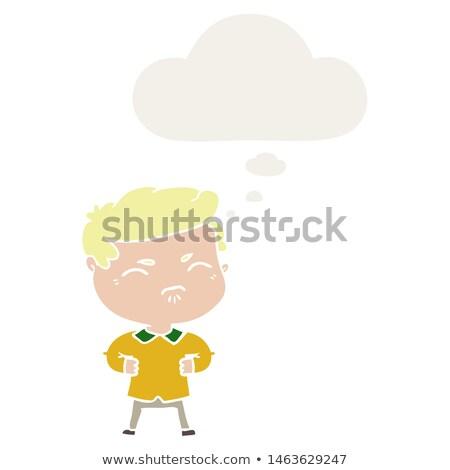 Rajz bosszús fiú gondolatbuborék kéz terv Stock fotó © lineartestpilot